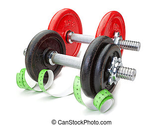 Two dumbbells for fitness and measuring meter. On a white background.