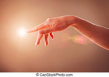 Woman Hand Touching Virtual Screen