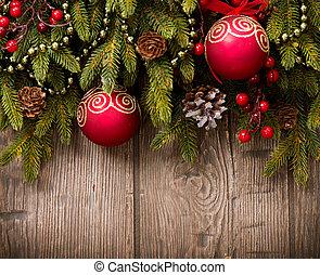 hölzern, aus, hintergrund, Holz, Dekorationen, Weihnachten