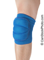 Knee protection in games on the male leg. Close-up. On a...