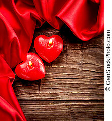 Valentines Hearts Candles over Wood. Valentine's Day
