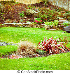 Landscaped garden - A beautiful landscaped terraced garden...