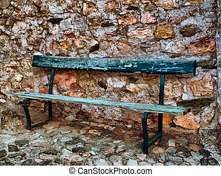 old bench - image of a green old wooden bench