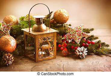 Christmas Scene Holiday Greeting Card Design