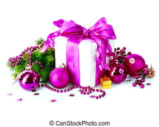 Christmas Gift Box and Decorations isolated on White