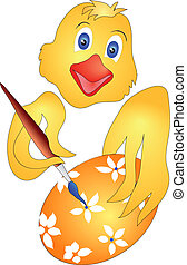 Easter chicken eggs paints - suitable for greeting cards, or...