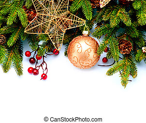 Christmas New Year Decorations Isolated on White Background...