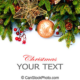 Christmas New Year Decorations Isolated on White Background