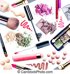 maquillage, ensemble, collage
