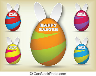 Happy Easter Rabbit Bunny Easter Egg Set - Vector - Happy...