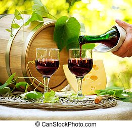 Red Wine and Cheese Romantic Lunch Outdoor
