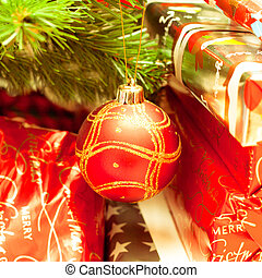 Christmas tree - close up of christmas tree decorations and...