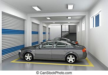 3D Parking Garage - Underground parking garage and car. 3D...
