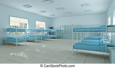 3d bedroom, youth hostel dorm room - modern bedroom. youth...