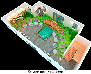 3D Landscaped - the perfect backyard, Landscaped 3D render