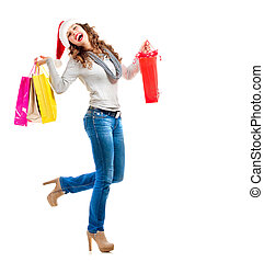 Christmas Shopping. Woman with Bags over White. Sales