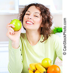 Diet Happy Young Woman Eating Fresh Fruit