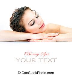 spa, bonito, jovem, mulher, com, fresco, saudável,...