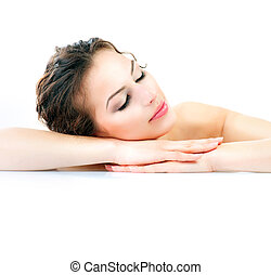 Spa Beautiful Young Woman With Fresh Healthy Skin
