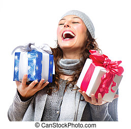 Happy Young Woman With Christmas Gifts Gift Box