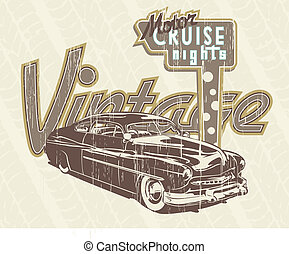 classic car - illustration for shirt printed and poster