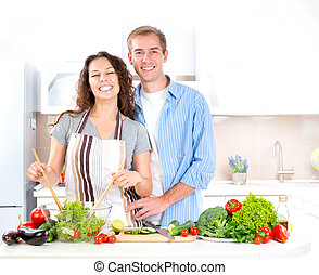 Happy Couple Cooking Together. Dieting. Healthy Food