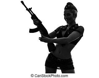 Sexy, mujer, ejército, uniforme, tenencia,...