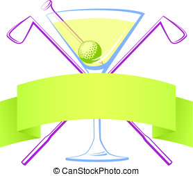 Golf Martini - Vector illustration of a martini glass with...
