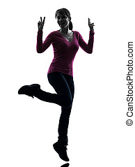 woman full length peace gesture silhouette