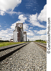 Grain Elevator - Old grain elevator located in rural...