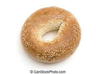 Sesame Seed Bagel - Single sesame seed bagel isolated on a...