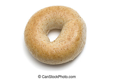 Whole Wheat Bagel - Single whole wheat bagel isolated on...