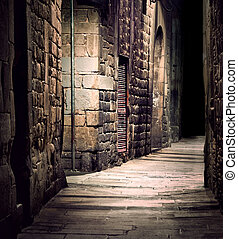 Dark alley in old part of town