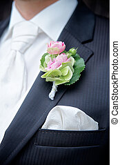 Flower on a Tux of a Groom - Flower on a tux of a groom with...