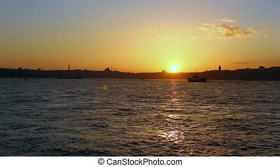 sunset at istanbul city