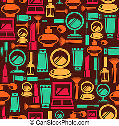 Seamless pattern with cosmetic icons
