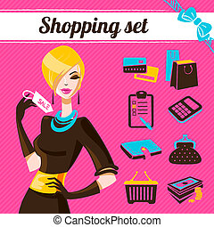 Shopping set, infographics of fashion women