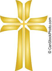 Golden Cross_Jesus - Golden cross christian religious...