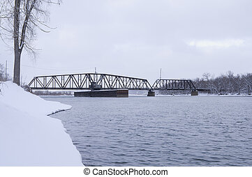 South Saint Paul Swing Bridge on Mississippi River - Swing...