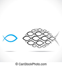 abstract fish moving in opposite direction stock vector