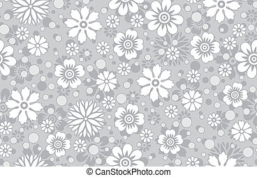 Floral silver background-pattern