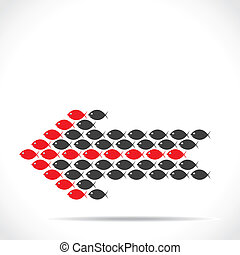 red and black fish make arrow shape stock vector