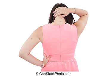 Back View of a Woman with Neck Pain - Isolated over a white background