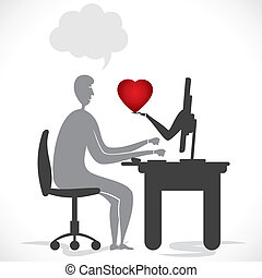 online romance - online proposal or giving heart card stock...