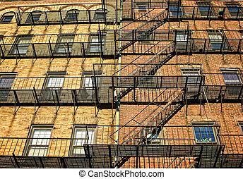 wide escape - fire escapes on old tenament buildings in...