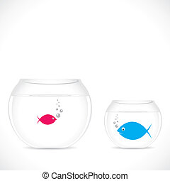 business concept - small fish in big pot and big fish in...