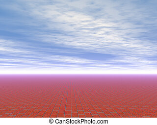 infinite brick pavement and blue sky high quality rendered from 3D