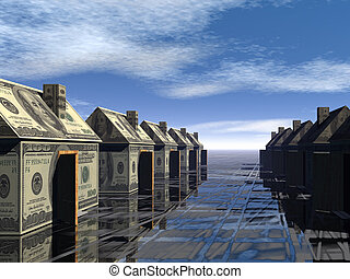 3D rendered street of money made houses with reflection and...