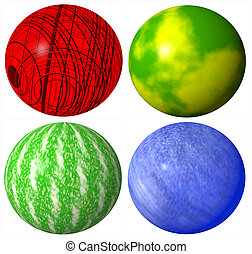 colored abstract globe spheres high quality rendered from 3d