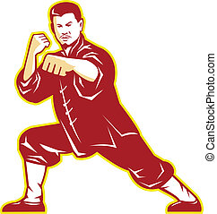 Shaolin Kung Fu Martial Arts Master Retro - Illustration of...
